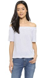 Splendid Striped Off Shoulder Tee White