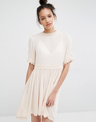 Vero Moda Cross Back Crochet Trim Dress Blush Pink