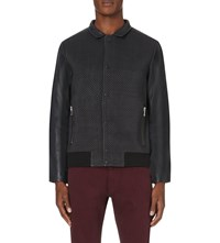 Reiss Cameron Leather Bomber Jacket Indigo
