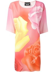 Boutique Moschino Roses Print T Shirt Dress Pink Purple