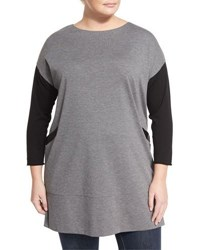 Lafayette 148 New York Long Sleeve Knit And Charmeuse Combo Tunic Nickel Bla