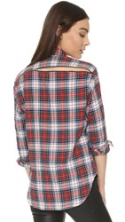 R 13 Zipper Back Japanese Plaid Shirt White Red Plaid