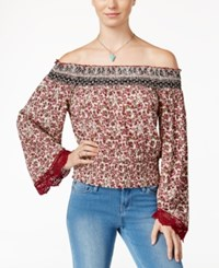 American Rag Printed Off The Shoulder Peasant Top Only At Macy's Red Multi