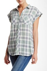 Sandra Ingrish Y Neck Roll Sleeve Plaid Shirt Blue