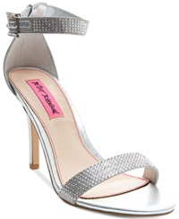Betsey Johnson Brodway Two Piece Dress Sandals Women's Shoes Silver Sparkle