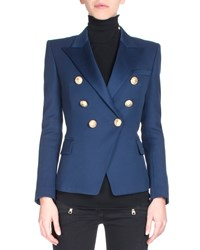 Balmain Classic Double Breasted Blazer Size 44 Fr 12 Us Navy