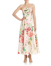 Betsy And Adam Strapless Floral Print Tea Length Skirt Pink Floral