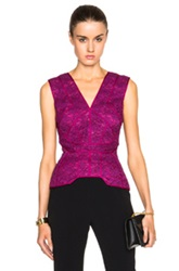 J. Mendel Floral Lace Deep V Neck Top In Pink