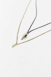 Urban Outfitters Leather Metal Triangle Necklace Set Black Multi