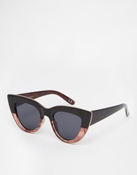 Asos Flat Top Cat Eye Sunglasses With Metal Sandwich And Flat Lens Tort And Black Mix Multi