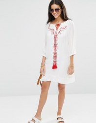 Brave Soul Long Sleeve Tunic Dress With Embroidered Panel Offwhitered