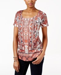 Styleandco. Style Co. Short Sleeve Printed Top Only At Macy's Blushed Moment
