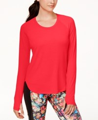 Jessica Simpson Warm Up Mesh Back Long Sleeve Active Top Aphrodite Pink