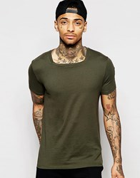 Asos T Shirt With Square Neck In Green Green