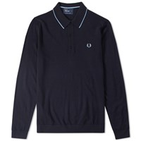 Fred Perry Long Sleeve Fine Merino Knitted Polo Blue