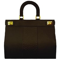 Marie Odile For Soltek Pearl Satchel Rich Black Leather And Embossed Ostrich Leather