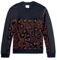 Wooyoungmi Panelled Embroidered Loopback Cotton Sweatshirt Midnight Blue