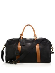 Polo Ralph Lauren Two Toned Leather Duffel Bag Black Tan