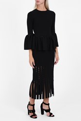 Jonathan Simkhai Women S Slashed Fringe Midi Skirt Boutique1 Black