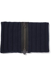 Rag And Bone Tessa Ribbed Merino Wool Scarf Navy