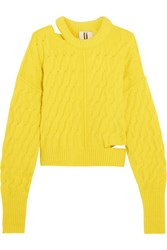 Topshop Unique Distressed Cable Knit Sweater Yellow