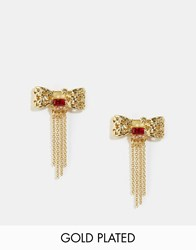 Les Nereides Bow Stud Earrings Gold