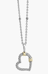 Lagos 'Diamond Lux' Diamond Heart Pendant Necklace Silver Gold