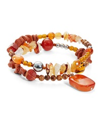 Lord And Taylor Carnelian And Sterling Silver Wrap Bracelet Orange Multi