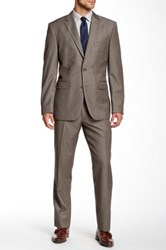 Vince Camuto Two Button Notch Lapel Wool Suit Beige