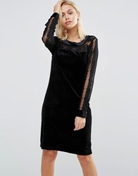 B.Young Velvet Dress With Lace Yoke And Arms Black