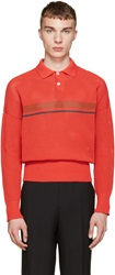 Jil Sander Red Knit Striped Polo