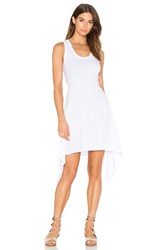 Bobi Light Weight Jersey Scoop Neck Back Cut Out Mini Dress White