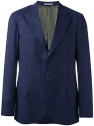 Brunello Cucinelli Checked Blazer Blue