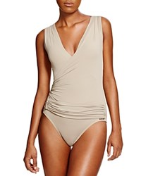 Vince Camuto Draped Crossover Neck One Piece Swimsuit Sandstone