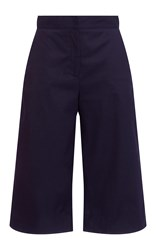 Msgm Navy Cotton Satin Cropped Trousers