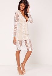 Missguided Lace Plunge Midi Dress White