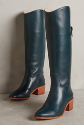 Anthropologie Candela Knee High Heeled Leather Boots Green