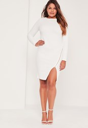 Missguided Plus Size Zip Front Bodycon Dress White White