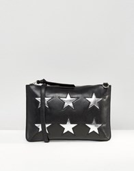 Urbancode Leather Clutch Bag With Cut Out Stars Black Silver Gold B