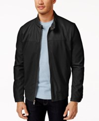 Kenneth Cole New York Faux Leather Bomber Jacket Black