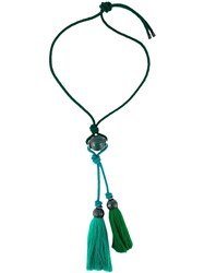 Lanvin Tasseled Rope Necklace Green