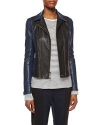 Vince Asymmetric Colorblock Leather Jacket