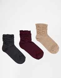 Ruby Rocks 3 Pack Of Ruched Socks Multi