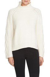 Women's 1.State Cable Knit Turtleneck Sweater Vanilla