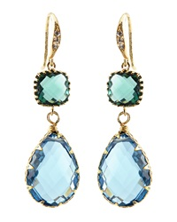 Indulgems Blue Quartz And Green Glass Station Teardrop Earrings