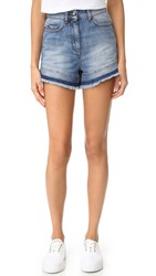 Red Valentino Two Tone Denim Shorts Medium Blue Denim
