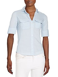 James Perse Ribbed Panel Button Front Top Open Sky