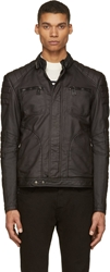 Belstaff Black Coated Cotton Weybridge Biker Jacket