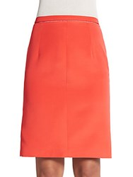 Giambattista Valli Silk And Cotton Pencil Skirt Coral