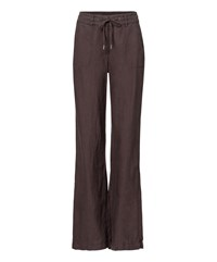 Olsen Wide Leg Linen Trousers Brown